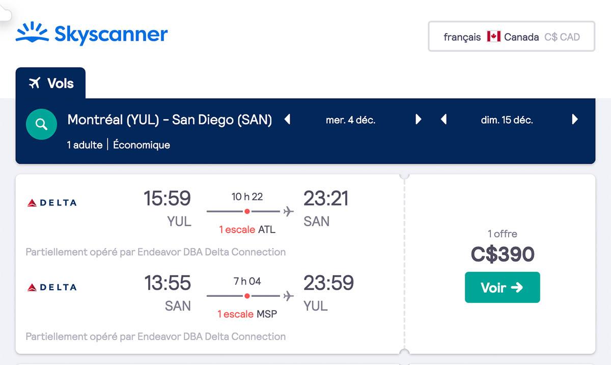 *Californie* Vols vers San Diego pour ~390$ (44% de rabais)